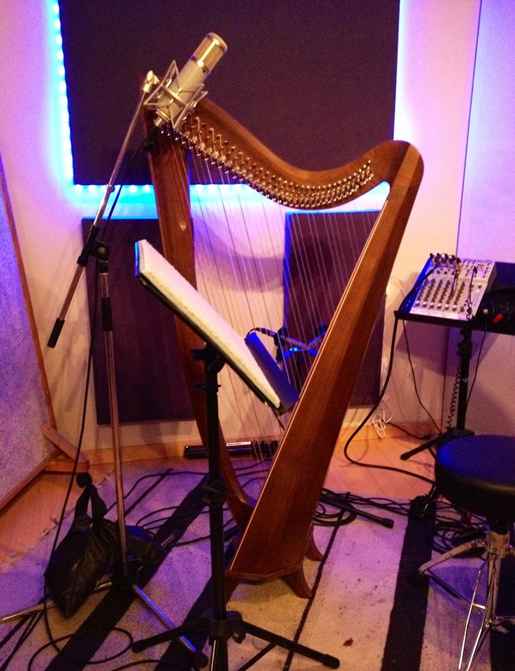 Rebecca's harp at Blue Light Studios