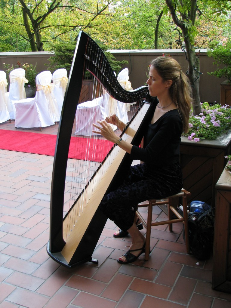 Rebecca performing at a wedding at the Wedgewood Hotel, Vancouver